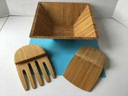 Pampered Chef Large Bamboo Wood Square Salad Serving Bowl &