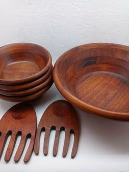"""Unbranded Wooden Bowl Set, One 11.5"""" and Four 6.5""""plus salad"""